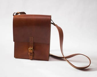 Leather Bag, Satchel, Messenger, Bronze Brown Medium Shoulder Bag, Mens Leather Bag, Womens Leather bag, Crossbody bag, Shoulder Bag Maestro