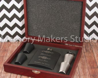 Engraved Flask 6-piece Gift Set