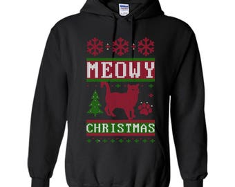 Meowy Ugly Christmas SweaterShirt - Funny Cat Christmas Pullover Hoodie 8 oz