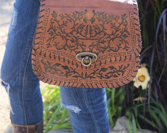 Hand Tooled Leather Cross Body