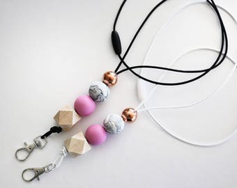 Chunky Clay Lanyards. Rose gold, marble, pink, wood.