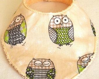 """""""pattern bandana bib"""" owls """""""