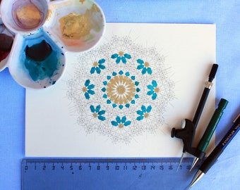 Original handmade islamic geometric pattern half watercolor
