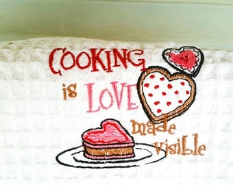 Embroidered Towel -  Kitchen Towel - Funny Kitchen Towel - Waffle Weave - Housewarming Gift - Bridal Shower Gift- Cooking Is Love