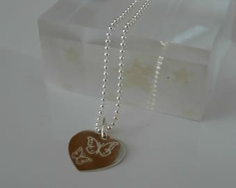 engarved butterflies heart charm necklace sterling silver gifts