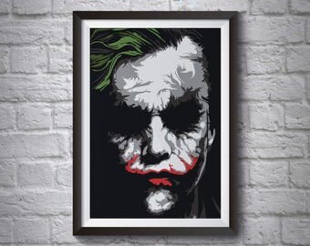 Heath Ledger Joker Abstract Poster - Wall Art Poster - A3 A4 Poster - Batman Poster - Printed Movie Poster - Boys Room Decor - Joker Print