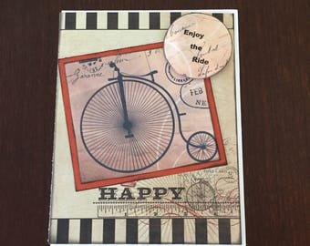 Bicycle Themed Vintage style Card. Enjoy the Ride, Black and Beige,  Blank, card