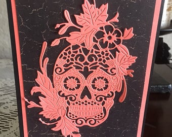 Day of the Dead, Dia de Muertos, Happy Halloween, Handmade card, beautiful skull die cut, intricate die, bright color