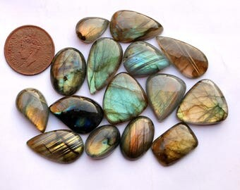 15Pcs 319Cts. 30x15mm 100% Natural Labradorite Multi Fire Pear Oval Jewelry Wire Wrapped Pendant Making Smooth Hand Polish Gemstone SKU137