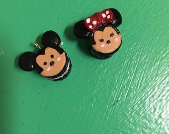 Mickey and Minnie Mouse poly clay macaroons as charms