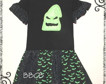 Girls - Nightmare Oogie Boogie Spooky Ghost Tunic Dress - fits aprx sz 6 - Birthday Halloween - Fall Autumn -