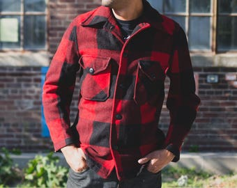 Vintage Buffalo Plaid Jacket / Mens Medium Button Up Wool Jacket / Lumberjack Fall Autumn Warm Overcoat