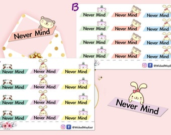 Never Mind Tab Planner Sticker, Panda Sticker, Bear Sticker, Bunny Sticker, Planner Tabs, Scrapbook Sticker, Planner Accessory - 12 Stickers