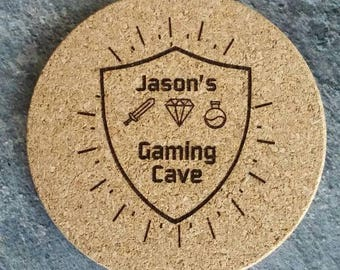 Custom cork coaster set, gamer cave, retro gamer, laser engraved and peronalized with your name