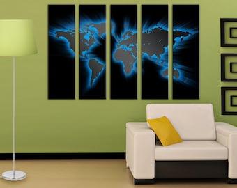Blue World map canvas Home decor Canvas wall art Canvas World map Wall Art Canvas Print Wall decor Art canvas Travel world map Home decor