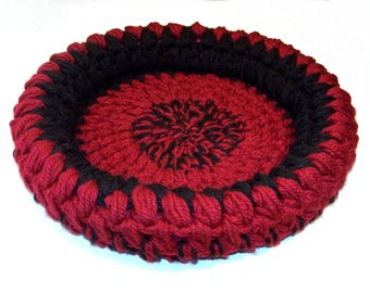 Pet Bed Basket Red Black 18-Inch Cat Bed Dog Bed Basket Mat Pad