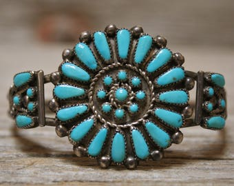 Lovely Old Zuni Sterling Silver Petit Point Turquoise Cluster Bracelet Signed