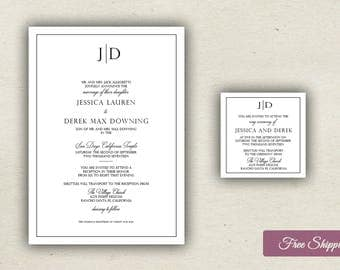 Elegant Modern Type Wedding Invitation Set Printed
