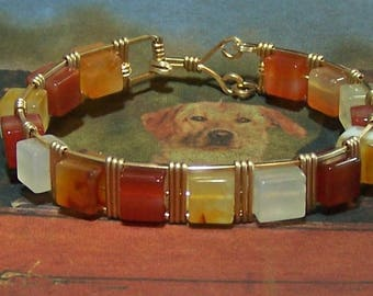 Chunky Natural Agate & Gold Fill Bracelet
