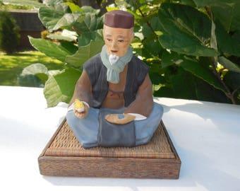 Vintage TILSO Japan Hand painted Porcelain Figurine Seated Man On Mat Japanese