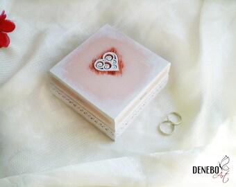 Wedding ring box jewelry box jewellery box wedding ring holder white wedding ring box bride and groom ring box ready to ship white heart box