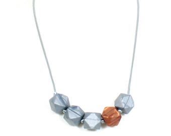 Geo Beads Silicone Teething Necklace Silver Copper