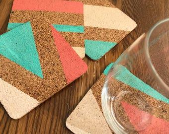 Modern coasters | Cork coasters | Drinkware | Set of 4
