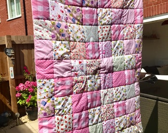Handmade Bespoke Girly pink patchwork cot quilt