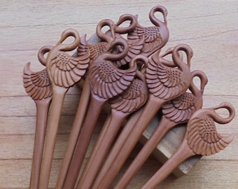 1 Prong Swan Wood Hair Sticks, Hair Pin, Hair Fork, Hair Accessories HS119