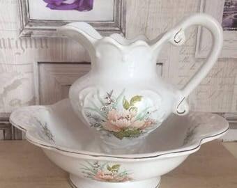 Vintage Floral Pitcher Bowl