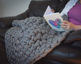 Chunky Crochet Square Blanket - Made to Order - Greens, Blues and Neutrals