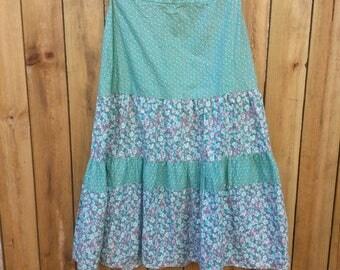 Turquoise, Pink & White Layered Prairie/Peasant Skirt
