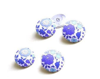 5 buttons covered with liberty fabric Anjo size and color OPTION, buttons are made in France