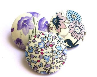 3 buttons covered 32 mm from liberty fabric blend made in France hand