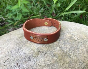 Night Court Leather & Copper Cuff