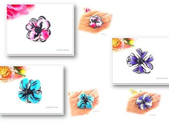 Ring creation flowers pink, blue or dark purple hibiscus in the choice