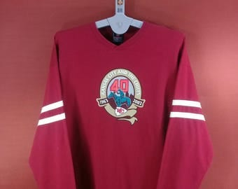 Vintage NFL Shirt Long Sleeve Sweatshirt Kansas City And The Chief Shirt Maroon Colour Size XL Champion Shirts Nautica Shirts Ellesse Shirt