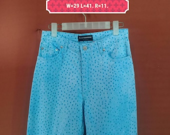Vintage Acquaverde Jean Full Polka Dot Pant Blue Colour Size 40 Designer Junya Watanabey Pants Issey Miyake Pants France