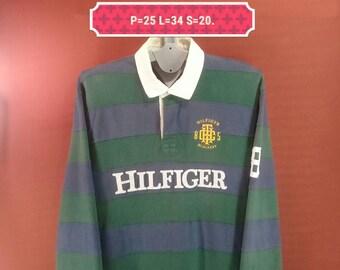 Vintage Tommy Hilfiger Tshirt Long Sleeve Big Logo Embroide Shirt Blue Green Split Colour Size XL Polo Ralph Lauren Sailing Gear Yatch Shirt