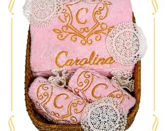 The Royal Emblem Towel  (Pink Premium)