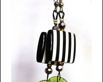 Square earrings black and white stripes and green leaves