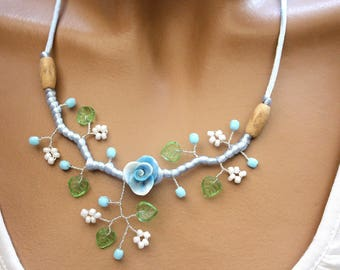 Sky blue and White Flower necklace