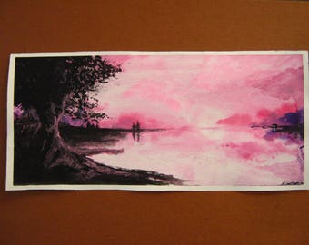 ORIGINAL Watercolor Art Painting 'Rosewater Bay' By Artist Ciara Greece Signed 7 1/2 by 16  REAL! ― not a print ― unframed Mother Gift