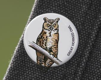 Great Horned Owl Bird Pin