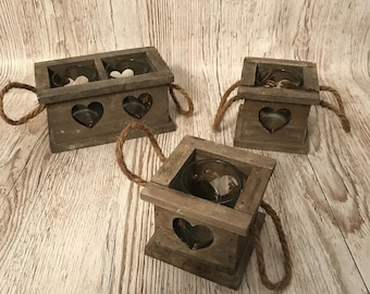 Square wooden heart candle holder with handles