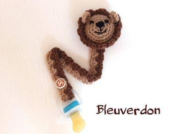 Crocheted amigurumi lion pacifier clip