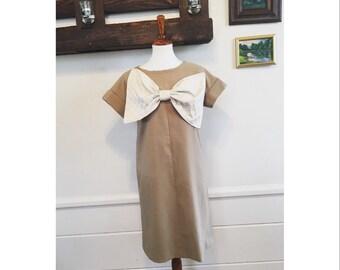 1960's large bow handmade dress