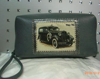 male bag made of genuine leather with retro car