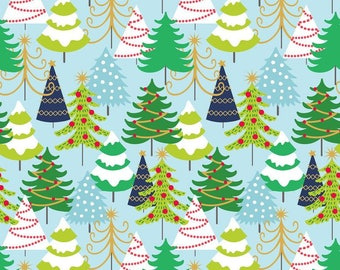 Grand Firs Blue Fabric by Blend Fabrics - 100% Cotton - Christmas - Trees - Holiday