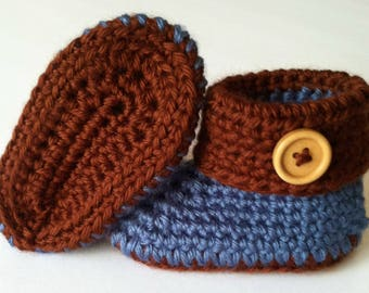 Crochet Cuffed Baby Booties, Baby Booties, Baby Shoes, Baby Gift, Crochet Baby Booties, Baby Shoes Boy, Baby Gift, Baby Shower Gift